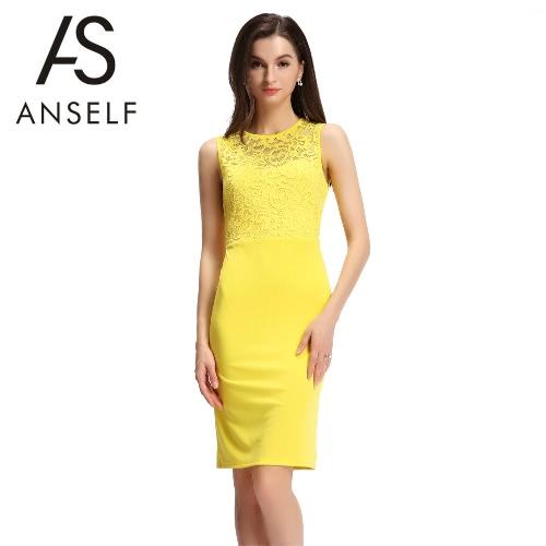 Mujeres sexy vestido sin mangas de encaje empalme corte nuevo Slim Bodycon Mini vestido noche fiesta Clubwear amarillo