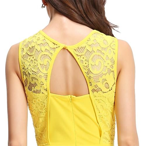 Sexy Women Sleeveless Dress Lace Splice Cut Out Back Slim Bodycon Mini Dress Evening Party Clubwear Yellow