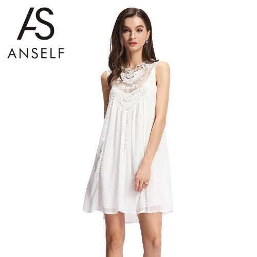 Neue Sexy Frauen Chiffon Kleid Volltonfarbe Mesh Häkelspitzen Spleißen aushöhlen ärmelloses beiläufige Kleid weiß