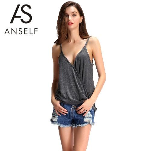 Las mujeres de moda de verano del tanque superior frente a la Cruz espaguetis correa vestido Cami Tee gris