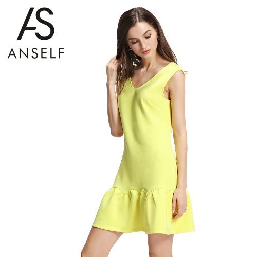 Nueva moda vestido de las mujeres V profundo volantes vuelta amplia cuello dobladillo V amarillo sin mangas Mini pieza