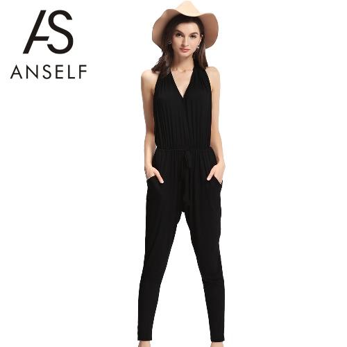 Las mujeres Sexy traje mamelucos Halter cuello Backless sin mangas bolsillos cintura elástico pantalones largos Playsuit negro