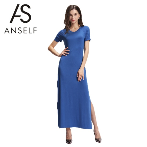 Neue Mode Frauen Maxikleid High-Side teilt Rundhals Roll Sleeve Slim Fit elegante einteilige blau