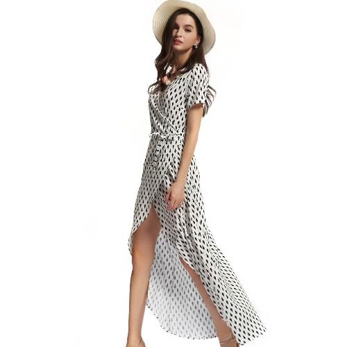 Женщины пляж летнее платье геометрических печати асимметричный подол короткими рукавами случайные длинное платье с поясом бежевый фото