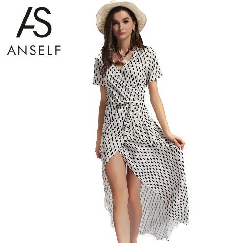 Playa mujeres verano vestido dobladillo asimétrico impresión geométrica Casual largo vestido de manga corta con cinturón Beige