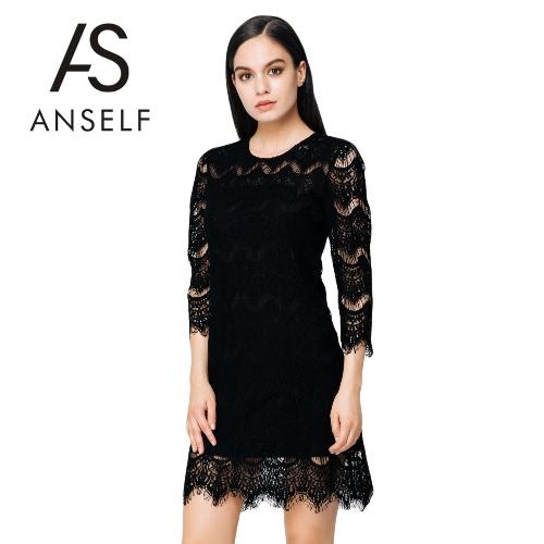 Nueva mujer elegante encaje vestido sólido O cuello tres cuartos manga cremallera cierre de hueco un Mini vestido negro/Beige