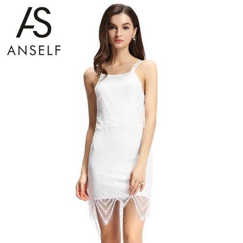 Nuevo Sexy mujer Bodycon vestido encaje Overlay correa ajustable empate nuevamente abierto nuevo Mini vestido blanco