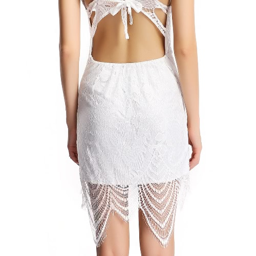New Sexy Women Bodycon Dress Lace Overlay Adjustable Strap Tie Back Open Back Party Mini Dress White