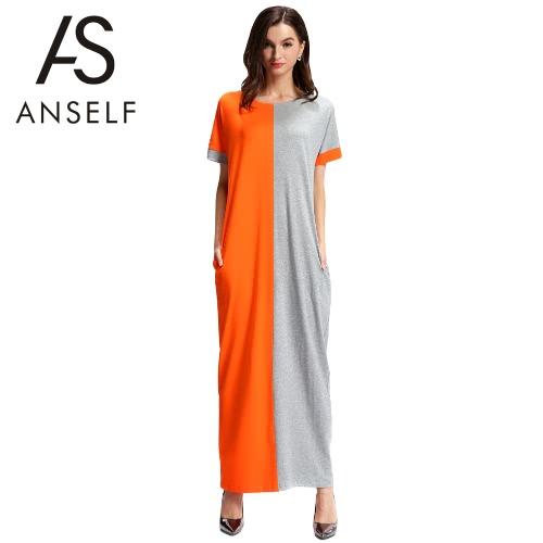 Nueva moda mujer vestido de contraste Color bolsillo manga corta cuello O informal suelto vestido Maxi largo naranja