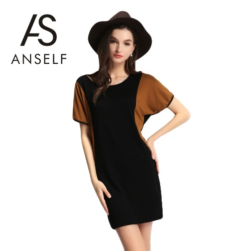 New Fashion Women Dress Color Block O-Neck Short Batwing Sleeve Mini Summer Stretchy Dress Black