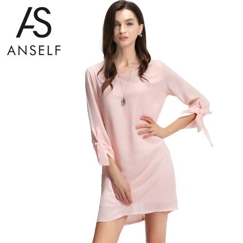 NOWE Mody Kobiety Sukienka O-Neck Rolowane Rękawa Z powrotem Zipper Podszewka Loose Solid Mini Sukienka Różowy