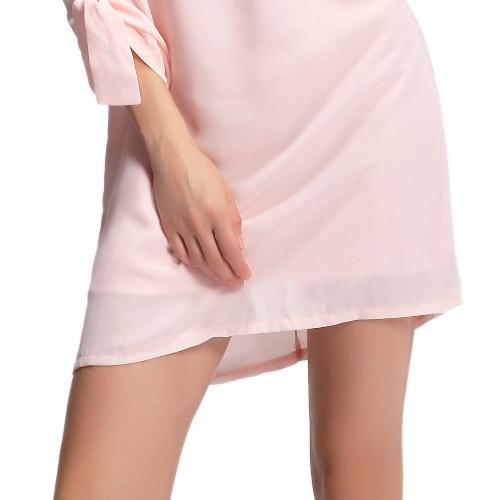 New Fashion Women Dress O-Neck Rolled Sleeve Back Zipper Lining Loose Solid Mini Dress Pink