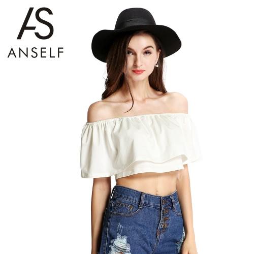 Nowe mody Kobiety Crop Top Boho Off The Shoulder Stretch trymowania żabotowy Nakładka stałe Casual Tops Beige
