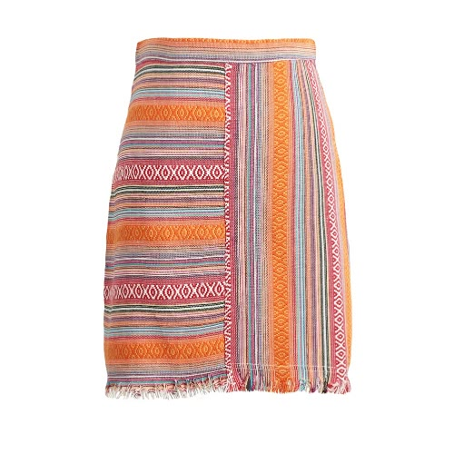 Fashion Women Mini Skirt Vintage Jacquard Striped Tassel Back Zipper High Waist Ethnic Bodycon A-Line Skirt Red/Orange