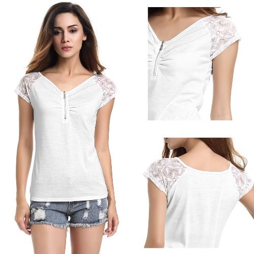 TOMTOP / New Fashion Women T-shirt V-Neck manga curta Lace Ruche Zipper Encerramento Magro Cut Casual Doce Top Branco