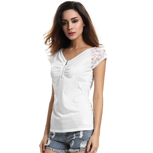 New Fashion Women T-shirt V-Neck manga curta Lace Ruche Zipper Encerramento Magro Cut Casual Doce Top Branco