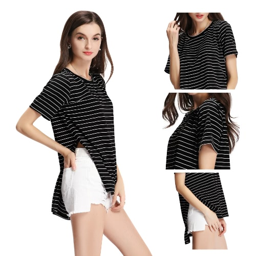 Nueva manera de las mujeres Camiseta a rayas de cuello redondo manga corta lateral abierto Dip dobladillo asimétrico Top Negro