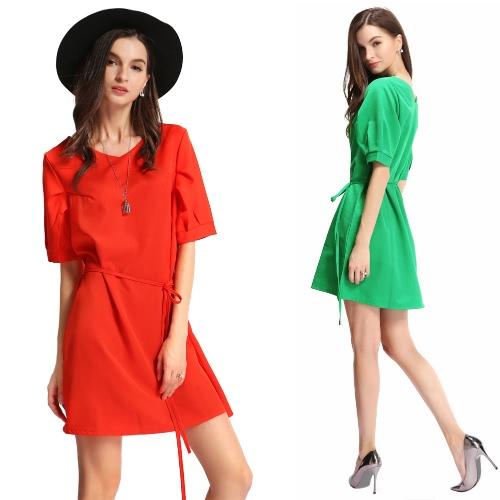 Новая мода Женщины Плюс Размер мини-платье сплошного цвета V шеи Половина рукава ремень OL Элегантный вскользь платье зеленый / красный арбуз