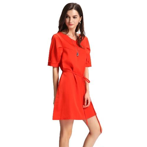 Nowy Kobiety Moda Plus Size Mini suknia Jednolity kolor V Neck Strap Połowa rękawem OL Eleganckie Casual Dress zielony / czerwony arbuz