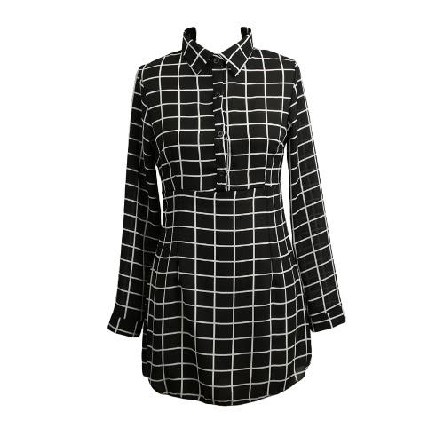 Nowe mody Kobiety Szyfonowa Sukienka z przodu Przycisk Plaid Shirt z długim rękawem ścielenia Collar Zipper slim Casual Bluzka Bluzki Mini Sukienka Czarna