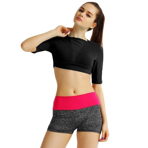 Novas Mulheres Top Curto cor sólida manga curta Pullover Magro Casual Thin Esportes Yoga blusa curta Tee