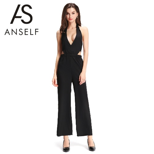 Sexy Women Wide Leg Jumpsuit Halter Deep V Neck Elastic Waist Back Tie Romper Playsuit Black