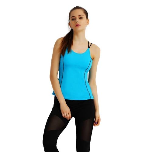 La nueva manera deportes de las mujeres del chaleco de la correa de espagueti acolchada sin mangas de yoga de la aptitud Running Top