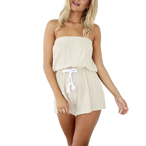 New Sexy Mulheres Jumpsuit Elastic Corte Neck Backless auto-tie cintura larga Leg Casual Playsuit Bege