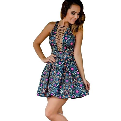 Las nuevas mujeres mini vestido atractivo de la impresión floral ata para arriba inmersión sin mangas con cuello en V elegante del vendaje del club Vestido de tirantes azul marino