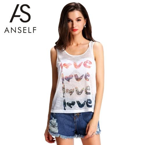 Nowe mody Kobiety Semi-Sheer rękawów List do druku O-Neck bez rękawów Casual Shirt Top Kamizelka biała