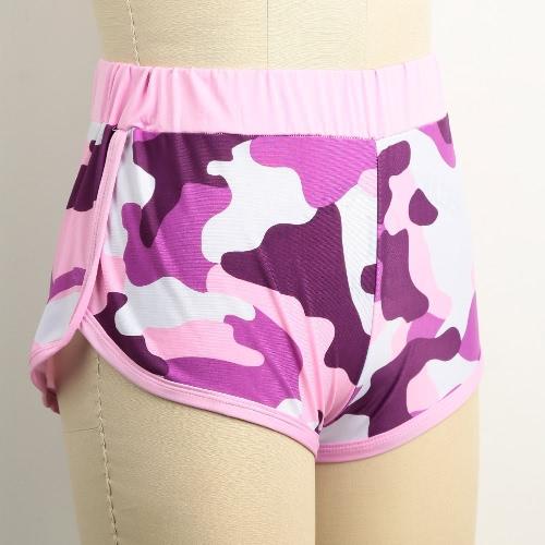 Nova moda Mulheres Camo Esporte Shorts Contraste Encadernação Dividir Side Elastic cintura Yoga aptidão que funciona Ginásio Shorts rosa / preto