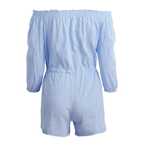 Neue Frauen-Sommer-Overall-Elastic-Boot-Ausschnitt Dreiviertel-Ärmeln Selbst geschnürter Taille beiläufige kurze Playsuit Light Blue