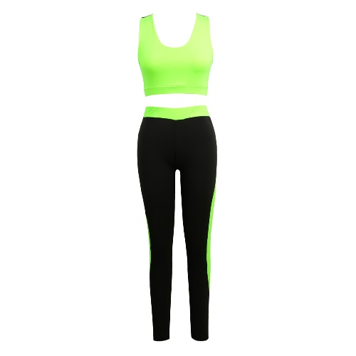 Fashion Women Two-Piece Set Hollow Out Racerback O-Neck Elastic Waist Cropped Top Slim Trousers Green/Rose/Red