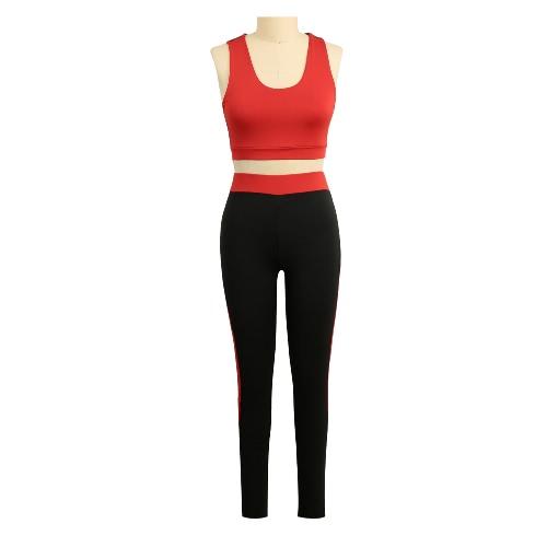 Moda Mulheres Two-Piece Set oco Out Racerback O-Neck cintura elástica colhida Top Magro Calças Verde / Rosa / Vermelho