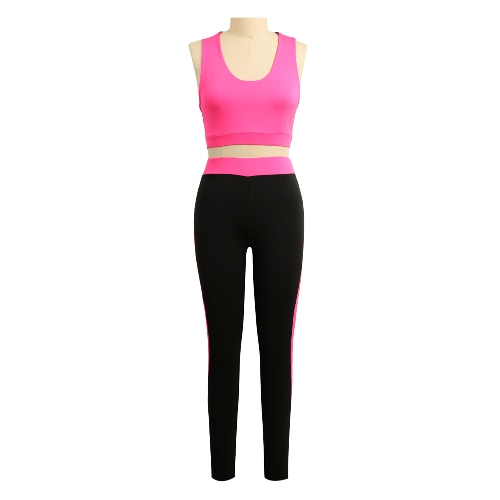 Forme a mujeres de dos piezas ahueca hacia fuera Scoop O-Cuello elástico de la cintura recortada superior adelgaza Pantalones Verde / Rosa / Rojo