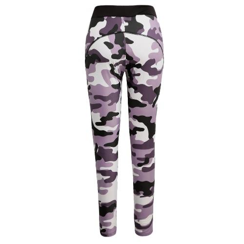 Mode Frauen-Sport-Hosen Camo Kontrast elastischer Taillen-Jogging Fitness Yoga-Hose Trainingshose Schwarz / Pink