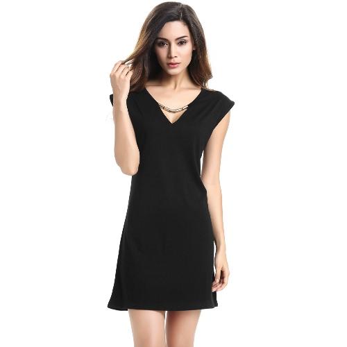 New Fashion Women Dress Sexy V-Neck Chain Sleeveless Casual Mini Dress Black