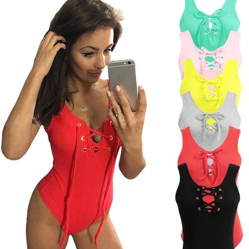 New Sexy Women Jumpsuit Plunge V-Neck Lace Up Tie Front Sleeveless Stretch Bodysuit Short Rompers