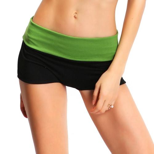 Neue Art und Weise Frauen Sport Shorts Kontrast-Farben-Splicing-elastische Taillen-Yoga Fitness Lauf Gym Shorts