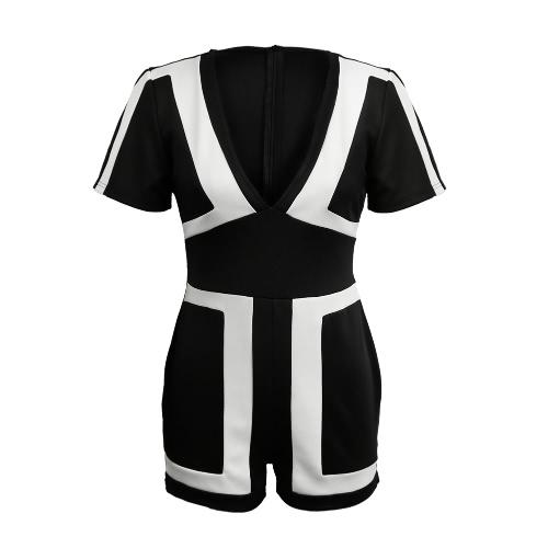 Frauen-Overall-Kontrast-Farben-Block-Splicing Plunge mit V-Ausschnitt Rückseite Reißverschluss Short Sleeve Overall Strampler Schwarz / Weiß