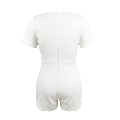 Women Jumpsuit Contrast Color-block Splicing Plunge V Neck Back Zipper Short Sleeve Playsuit Rompers Black/White