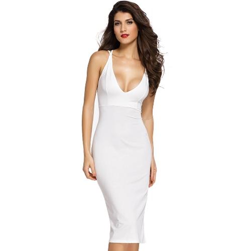 Kobiety BODYCON Sukienka Podwójne Spaghetti Pasy Krzyż Powrót klubowa litego płaszcza Party Dress Black / White / Red