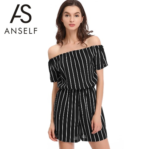New Women Summer Jumpsuit Stripes Sexy Slash Neck Short Sleeves Elastic Waist Casual Short Playsuit Black