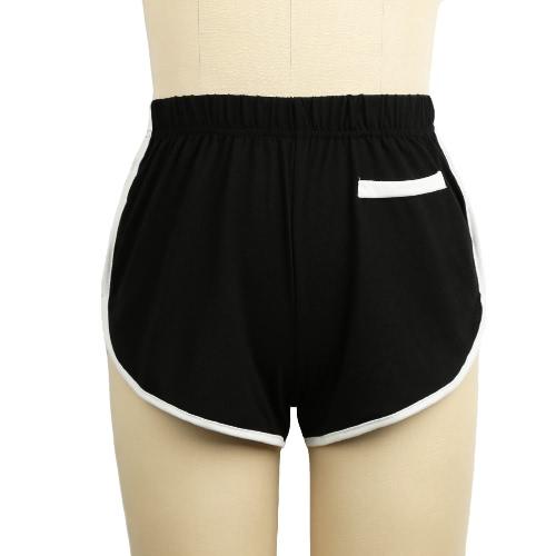 Moda damska szorty Contrast Fałszywe Kieszenie elastyczny pas Running treningowe Aktywni Spodenki