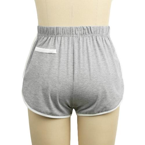 Moda Mujeres pantalón corto de contraste falsos bolsillos elásticos de la cintura Ejecución de entrenamiento cortocircuitos ocasionales activos