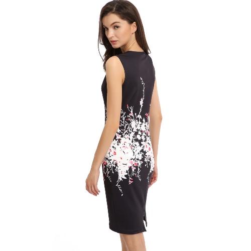 New Sexy Women Bodycon Dress Floral Print Round Neck Sleeveless Back Split Party Mini Dress Black