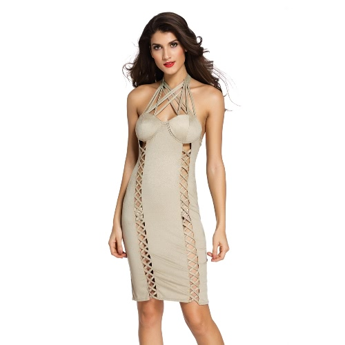 New Fashion Women Mini Dress Faux Suede Leather Padded Wireless Halter Crossed Strappy Slim Sexy One-Piece Khaki