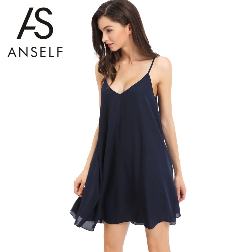 Vestido de gasa sin mangas de las nuevas mujeres V profundo atractivo del cuello con volantes Cruz del partido de tarde playa de la correa del mini vestido azul oscuro