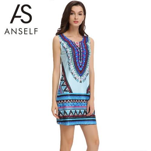 New Sexy Summer Women Mini Dress Geometric Print O Neck Sleeveless Vintage Casual Straight Sundress Blue