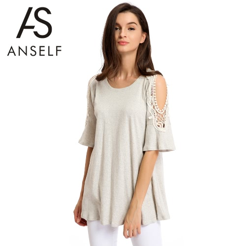 Fashion Women Short T Shirt Cut Out Crochet Lace Shoulder Half Sleeve Flare Cuff O Neck Loose Casual Top Tee Grey